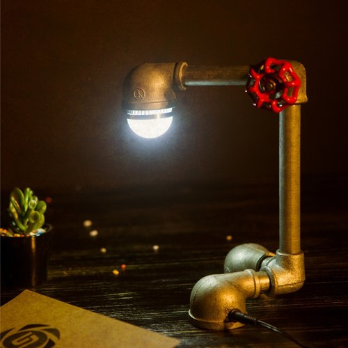 Carpenter Workshop [valve] American country retro LED lamp creative personality den bedroom decorative lamp pipes