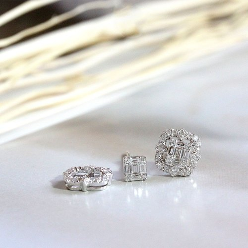 Emerald cut illusion with vintage diamond earrings