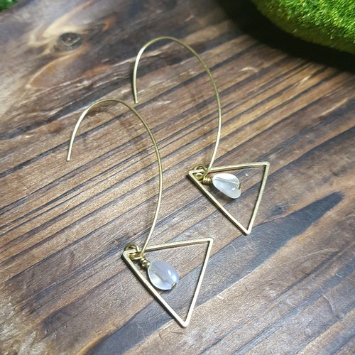 Classic Mono: Retro Brass Hook Earrings with Moonstone (HK/Handmade/Elegance/VintageStyle)