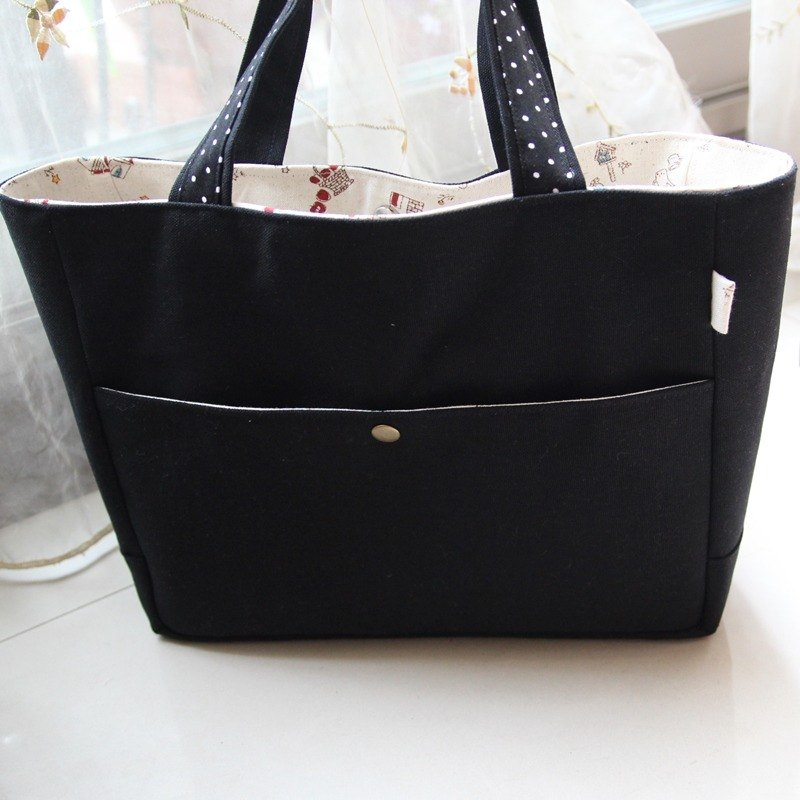 Cotton Fabric: Tote bag, Shoulder bag, Black Canvas