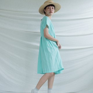 Mint Pleated Linen Dress