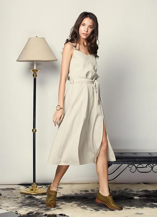 Olive Sand Gentle breeze linen jumpsuit