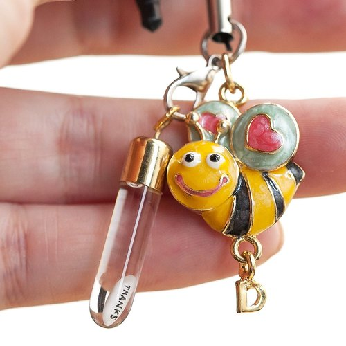 "Mizhi Dajia Artificial Room ""Hand-made Customized Cell Phone Dust Plug"" Style P-Pendant Little Bee"