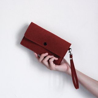 "Simple mobile phone carry bag / wrist strap - texture wine red (6 吋 ""about iPhoneXs can be used"