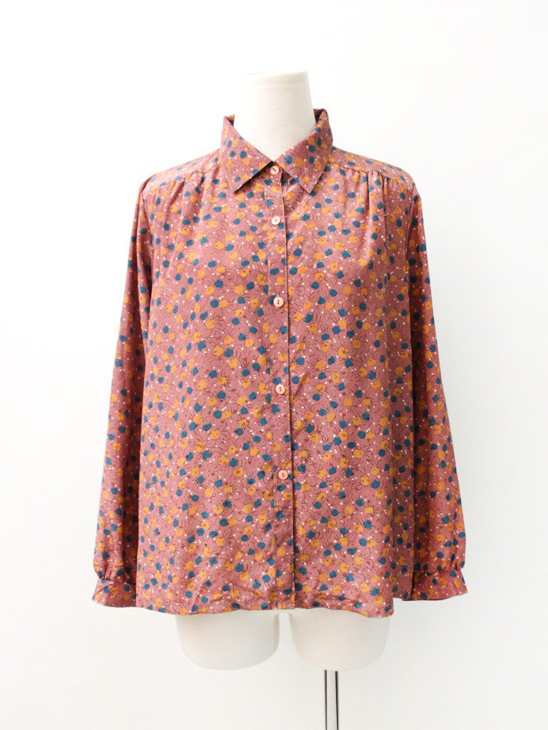 Japanese-made retro peach pink long-sleeved vintage shirt Vintage Blouse