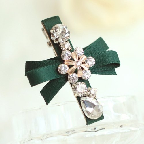 Elegant Ribbon with Rhinestones Hair Clip