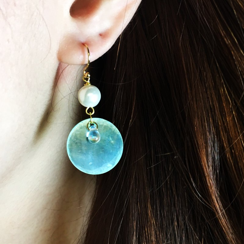Beautiful fall big earrings | water blue mirror shell | can be changed folder type
