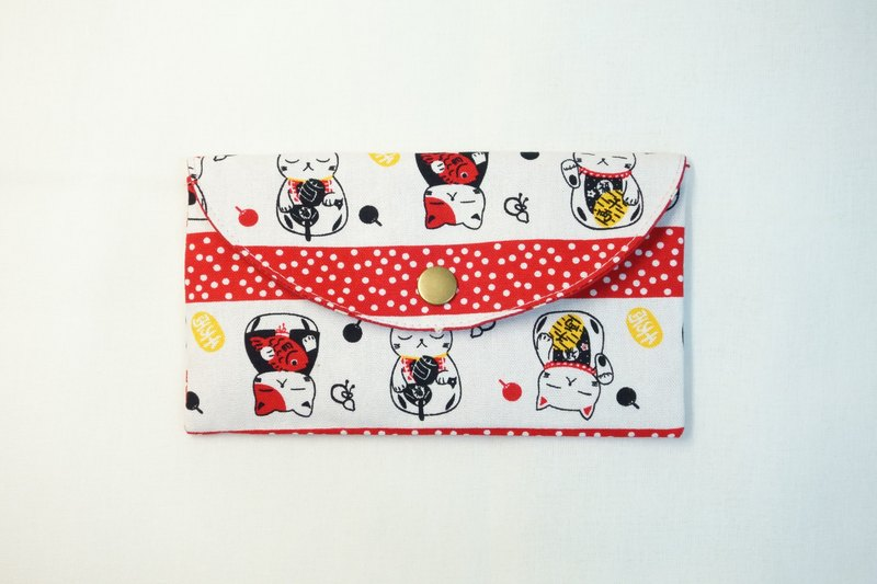 Play cloth hand made. Lucky cat red envelopes bankbook pouch
