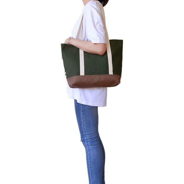 [Early Spring Shoulder Bag] - Green Canvas