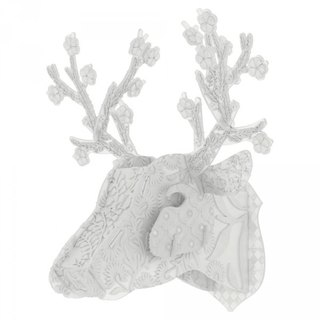 Italy MIHO imported gorgeous simple monochrome white deer head ornaments (Coconut) spot