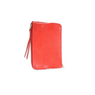 Double Sided Zipper Bag / Double Face / Natural Genuine Leather / S / Red / Hand Limited