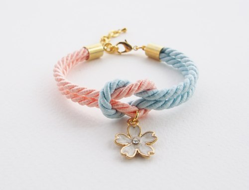 Peach and Blue tie the knot bracelet with flower charm