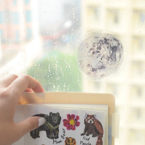Galaxy Collection- Moon transparent waterproof PVC sticker