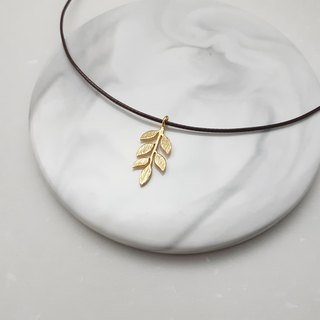 Handmade x necklace brass small leaves plain simple wax rope thin line