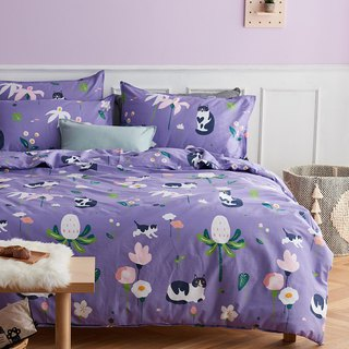Ziyu 喵 pillowcase + quilt cover two sets of single double original hand-painted cat 40 cotton bed package optional