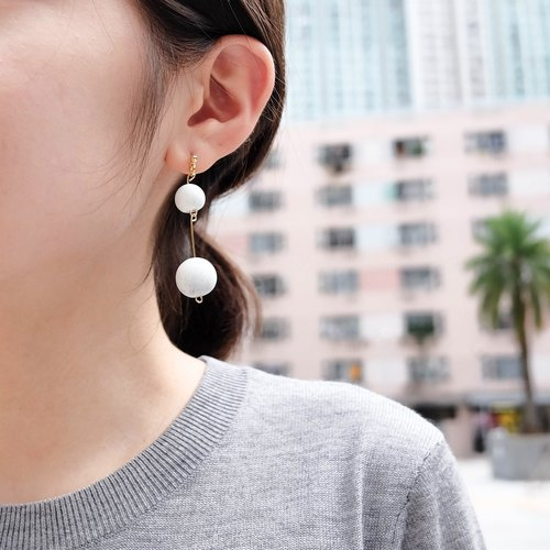 Double White Marble Pattern Concrete Bubble Earrings