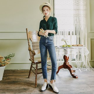 [Special offer] early autumn 2018 fashion wear solid color suit collar shirt front short long jeans suit
