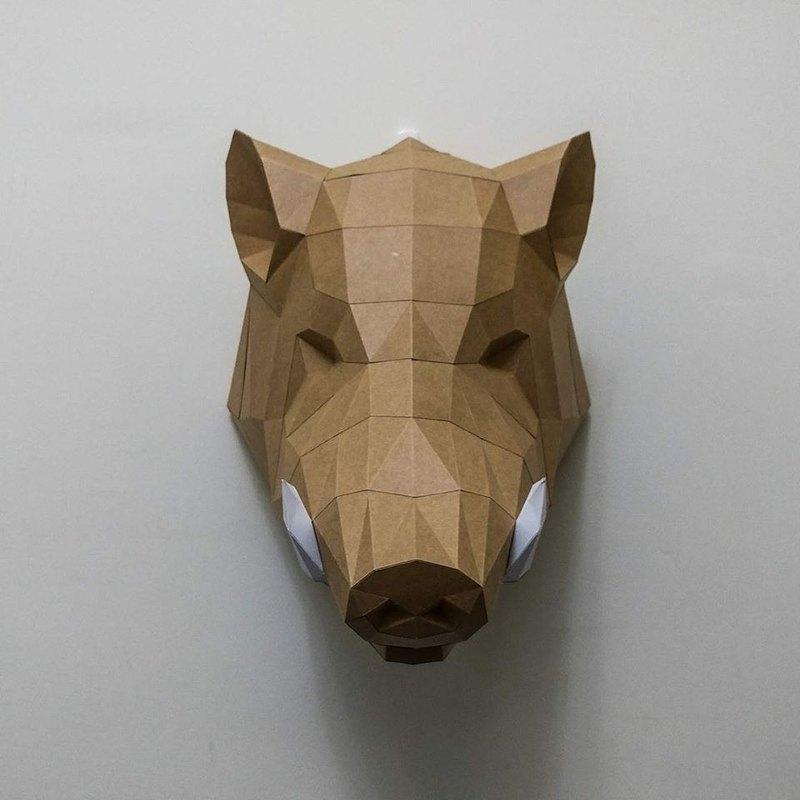 正版匠紙_DIY 材料_紙模型_禮物_手作_野豬活力強強滾壁飾
