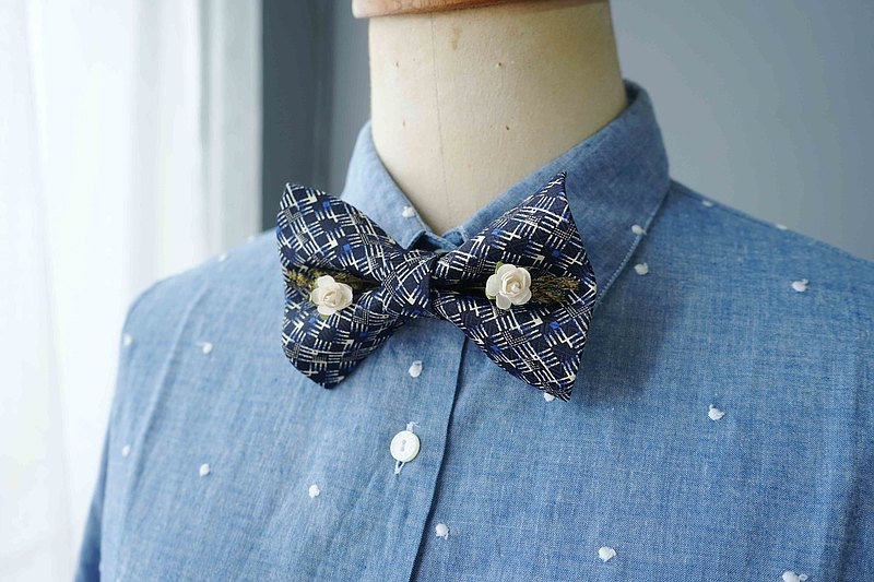 Antique fabric flower tie reworked handmade bow tie-the quiet sea that summer-white rose version