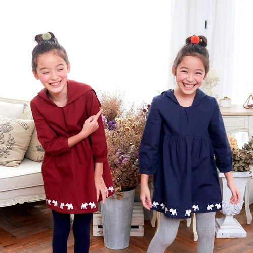 Deer Hooded Fit & Flare Dress (infant/toddler/girl) Burgundy / Navy