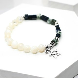 Leisurely blue sky and white silver bracelet │ blue 玥 unicorn lapis lazuli bead tree agate