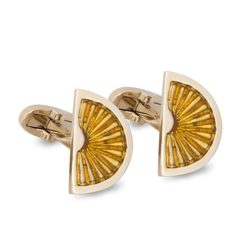Orange Fruit Cufflinks in Pale Gold