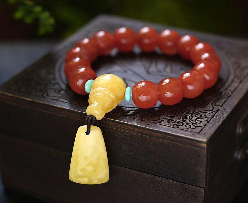 精品天然南紅老型珠13×12MM手鏈 點綴天然精品蜜蠟白花蠟無事牌