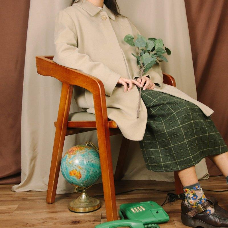 百分之百喀什米爾大衣001,米白, 羊毛 長版 【Tsubasa.Y 古著屋】
