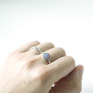 Opal Stone Open Ring - 925 Sterling Silver (Purple)