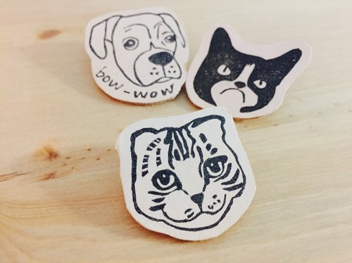 Which cover | meow, it is a handmade leather cat pins | 01