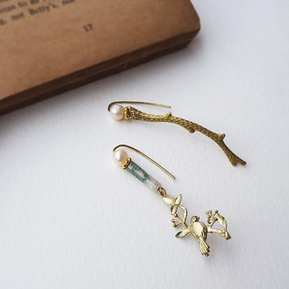 Green Brass Engraving Branch Birds Foil Engraving Pieces Natural Pearl Aquatic Agate Beads Earrings Ear hook B01