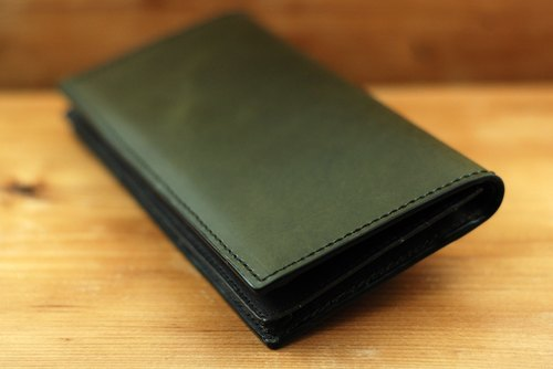 SOLD OUT dark green waxy skin long leather folder