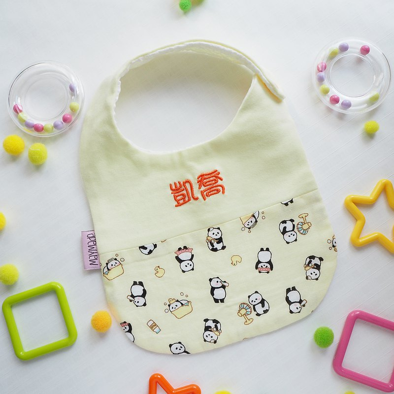 """Togetherness""Handmade Name Embroidery Baby Bib - Yellow Panda"