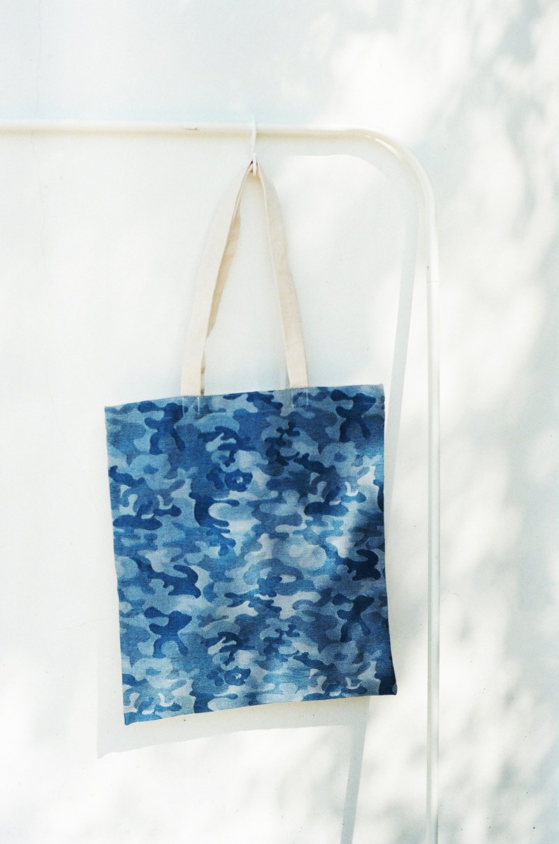Denim double-side shopping bag - camouflage