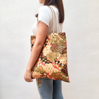 Large floral print tote bag with leather straps. Limited.