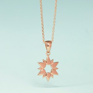 Sun necklace in silver with rose gold plating