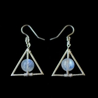 MYTH DELUXE: Triangle Geometry Indian ice kind of moon stone 925 sterling silver earrings crystal ear hook with storage bag and the British silver polishing cloth