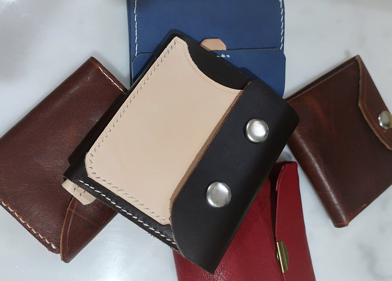 Hand-sewn new stylingism simple unisex wallet / 6 card position leather middle folder