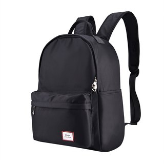 [Cartoon keychain buckle] simple black bulk water repellent laptop backpack unisex
