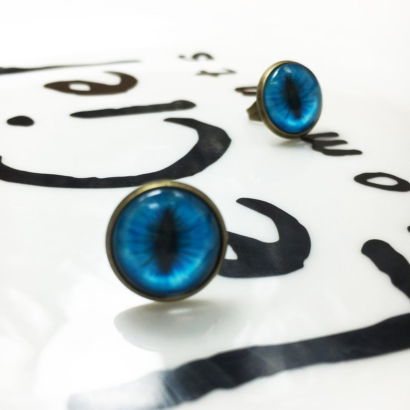 Handmade earrings bronze cat pupil impression 〖〗 aqua blue cat ◙ ◙ another provide improved clip-on