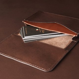 Leather Business Card Case Brown