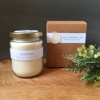 Hand-Poured Lavender Scented Soy Wax Candle - 250g | Rustic Candle with Box