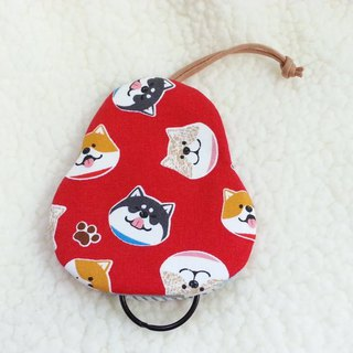 Laughing Shiba Inu (red) pear-type key bag [K180303]