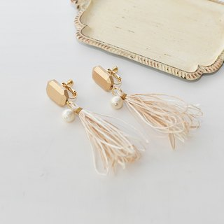 イヤリング/Tassel earrings/wood