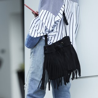 Leather Fringe Bag ( Black) : The Undressed
