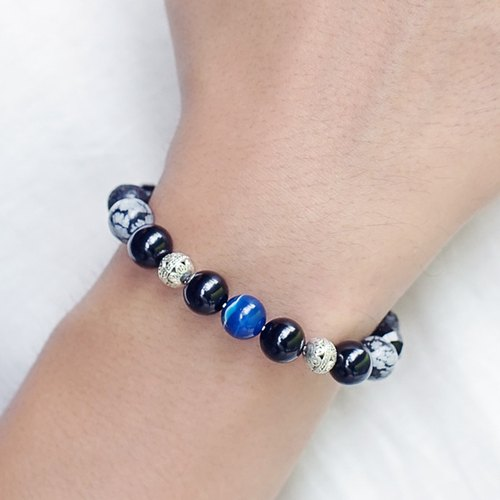 Mission ◆ dark blue - black onyx / volcanic rock / alabaster / blue agate / negative energy Terminator / bracelet bracelet gift custom designs