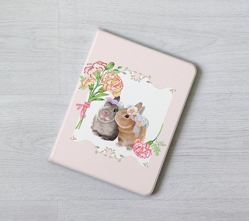 Pink rabbit wreathes flower iPad flip Case cover apple pencil Pro Air 3 4 5 8th