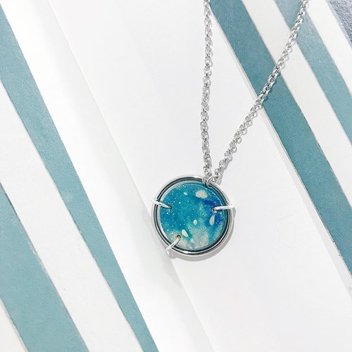 Mystery for the stars series s925 sterling silver leather hand round necklace