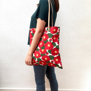 Camellia print tote bag with leather straps. Limited.
