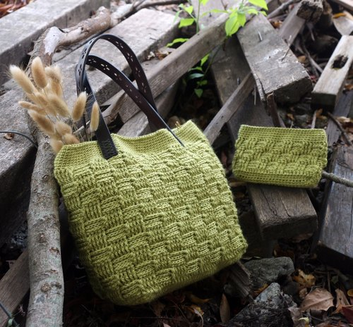 Hand-made - lattice pattern hand bag + wallet - autumn green - warm hand knitting natural ramie woven bag